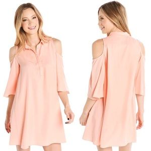 Do + Be coral cold shoulder shirt dress